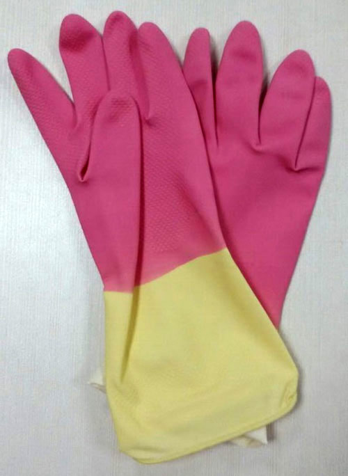 double color household latex glove