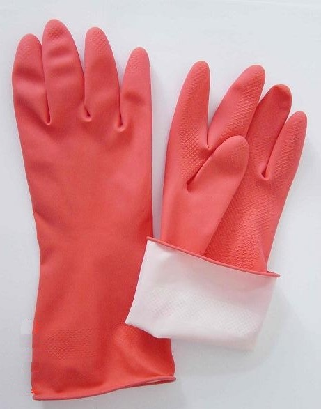 red Household latex glove