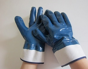 Twice dipped Blue Nitrile glove