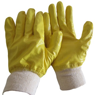Yellow Nitrile fully dipped glove