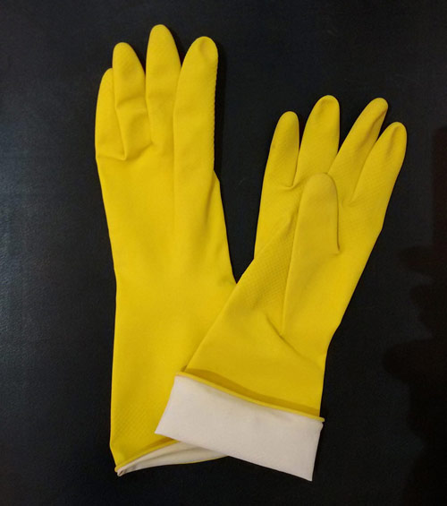 yellow latex household glove