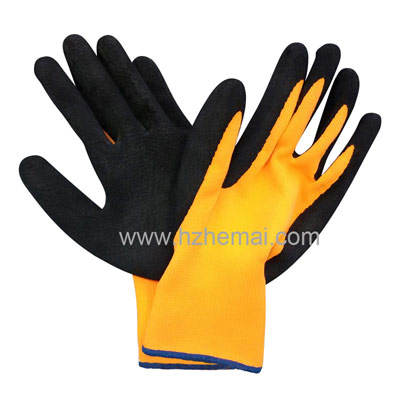 Hi vis orange liner latex foam palm coated glove