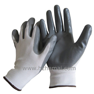 grey Nitrile coated glove 13 gauge nylon/polyester liner